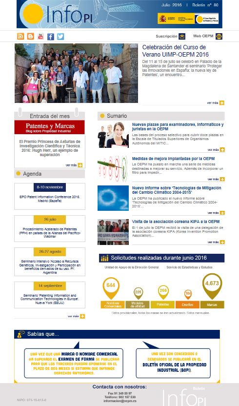 Oficina espa ola de patentes y marcas industrial property for Oficina de patentes y marcas europea